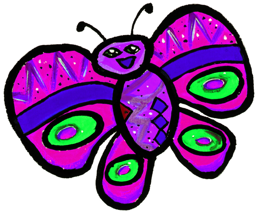 Vlinder 1 Paars